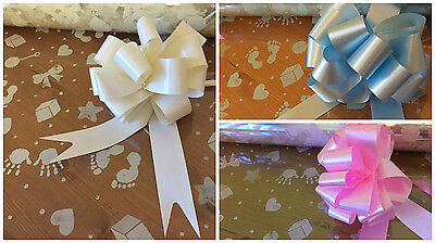 Baby Print Cellophane Wrap with PullBow, unisex/ivory, pink or blue available