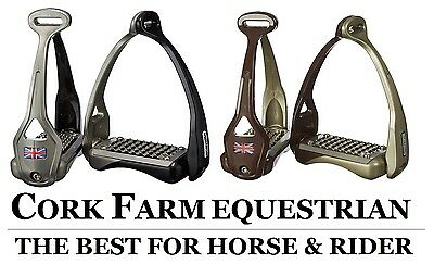 Acavallo OPERA Titanium Balance Flex Logo Stirrup Irons STIRRUPS Black & Brown