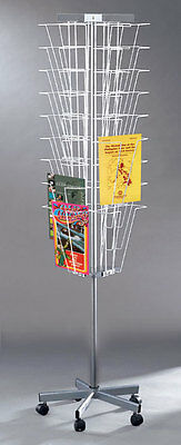 Planet Racks 27 Pocket Mobile Magazine Literature Display - Silver