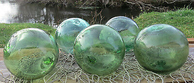 "Japanese Glass Fishing Floats 4-4.5"" Lot-5 Sea Green RARE HUE Authentic Vntg!"