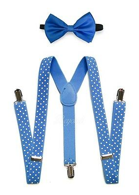 Blue Suspender and Bow Tie for Adults Teenagers Women Men (USA Seller)