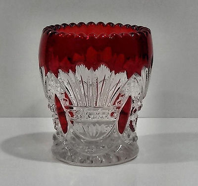 1902 Heisey PRINCE OF WALES PLUMES Toothpick Holder RUBY STAINED Glass EAPG Rare
