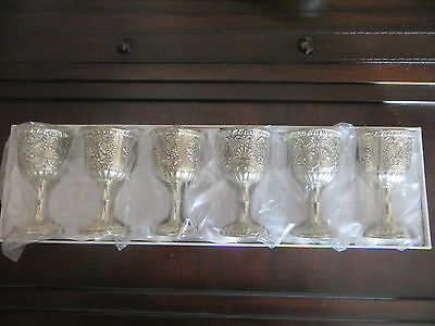 "6 RAIMOND Silverplate Goblets Chalices 3 1/2"" Grapes Leaves Design EXCELLENT"