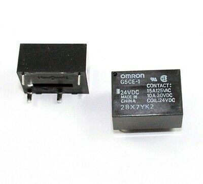 Omron G5CE-1-DC24 Relay, 10A, 24V, PCB mount - Lot of 3 ( 28B122 )