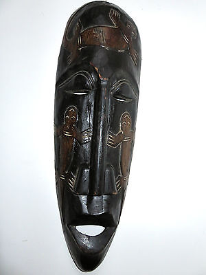 African Hand Carved Wooden Mask With Lizard Pattern