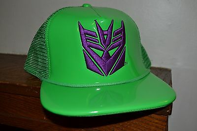 d77ad3891c2 Transformers GREEN SNAPBACK FlatBill Hat Decepticons EMBROIDERED LOGO