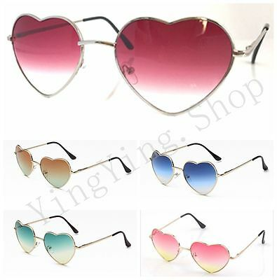 Vintage Retro Lolita Heart Shaped Aviator Metal Frame Women Sunglasses