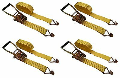 "4 Pc 2"" inch x 15' Ft Ratchet Tie Down Cargo Straps J Hooks 4 pack"