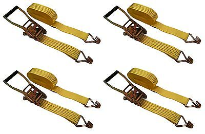 "4 Pc 2"" inch x 27' Ft Ratchet Tie Down Cargo Straps J Hooks 4 pack"