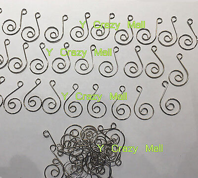 100pcs Miniature Small Christmas Tree Scroll Wire Ornament Hooks Hanger