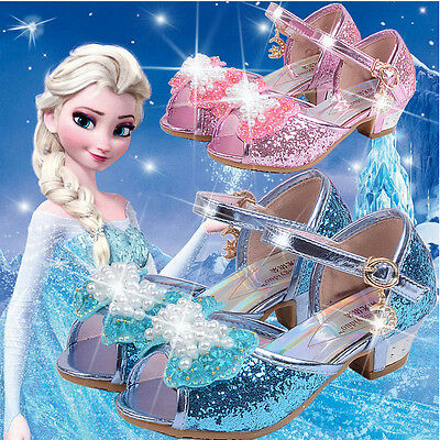 Frozen Anna Elsa Princess Cosplay Dress Up Pearl Shoes Girls Kids Party Gift