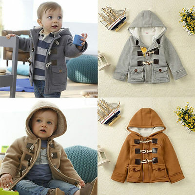 Toddler Baby Boys Warm Winter Hoodies Coats Kids Snowsuit Jacket Clothes 2-7T