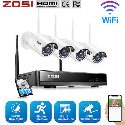 ZOSI 4CH 1080P NVR 2500TVL IP Outdoor Home Wireless CCTV Security Camera System