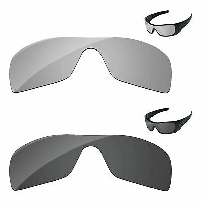 Black & Silver Chrome Polarized Replacement Lenses For-Oakley Batwolf Sunglasses
