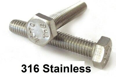 Qty 20 Hex Set Screw M6 (6mm) x 40mm Marine Stainless Steel SS 316 A4 70 Bolt