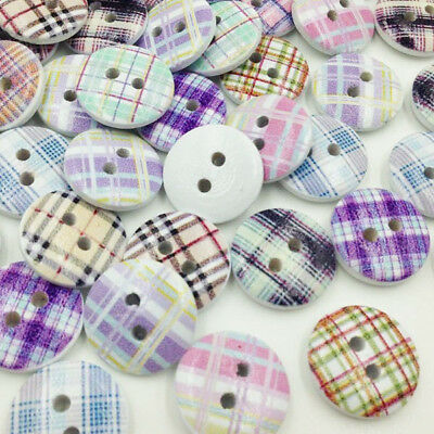 10/50/100pcs 15mm Grid  Wood Buttons Doll Sewing Craft Appliques WB284