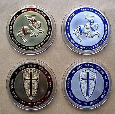 999 FINE SILVER/GOLD PLATED 1 Oz FREE MASON KNIGHTS TEMPLAR ENAMELLED COINS