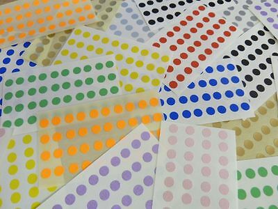 Small 6mm Round Circular Coloured Sticky Labels, Dot Stickers Mixed Colours