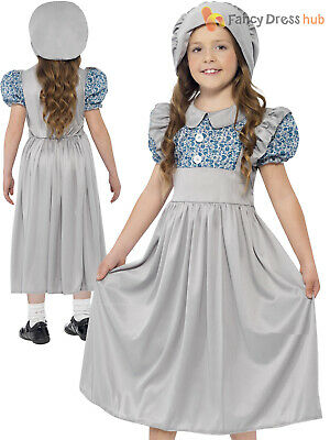 Girls Victorian School Girl Costume World Book Day Fancy Dress Outfit Kids Child