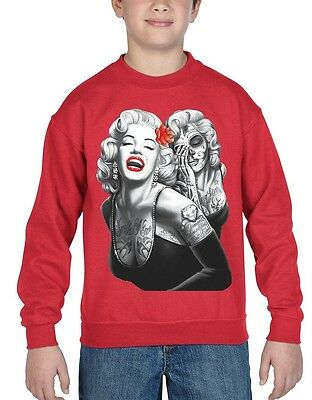 Tattooed Marilyn Monroe Skull Youth Crewneck Day of the Dead Rose Sweater