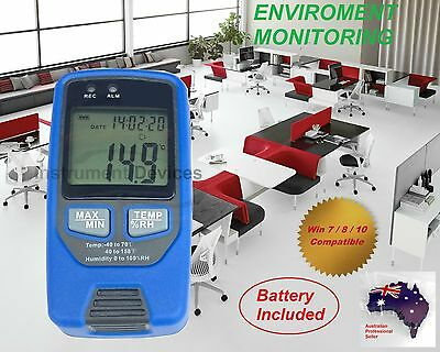 High Accuracy LCD Temperature Humidity Data Logger, 32700 Data, Win10 Software