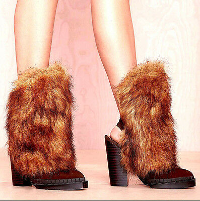 02188f8e730 New Nib  242 Jeffrey Campbell Brown Shaggy Faux Fur Oleg Boots Booties Heels