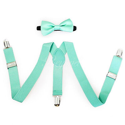 Teal Suspender and Bow Tie Set for Baby Toddler Kids Boys Girls (USA Seller)