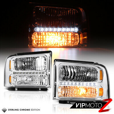 [FACTORY STYLE w/ DRL LED] For 05-07 Ford F250 F350 SD Chrome Headlights Lamps