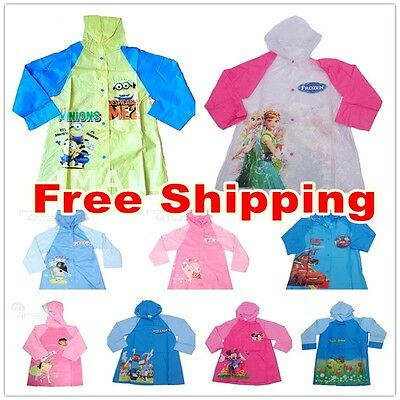 Kids Boys Girls Hooded Raincoat Rainproof Rainwear Poncho Rain Jacket Mac Coat