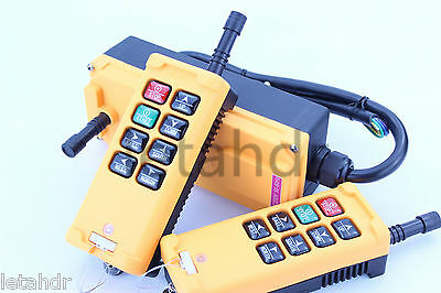 12-415V 2 Tansmitters 8 Channels Industrial Wireless Crane Hoist Remote Control