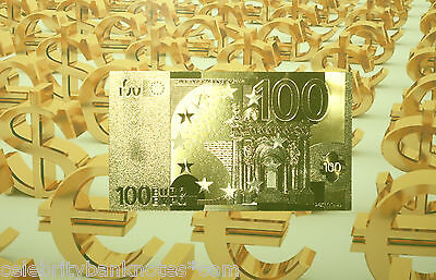 Original *€100* EUROS -10TH ANNIVERSARY 24K PURE GOLD PROOF Banknote *MUST SEE!