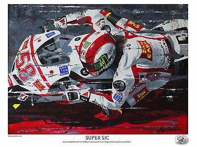 MARCO SIMONCELLI SUPER SIC A3 limited edition print by Greg Tillett MOTOGP