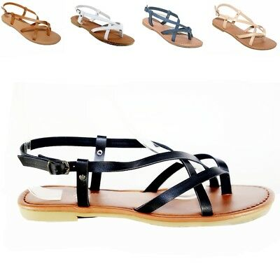 Women  Sandals  Gladiator Thong Flops T Strap Flip Flat  size Strappy  Black,Tan