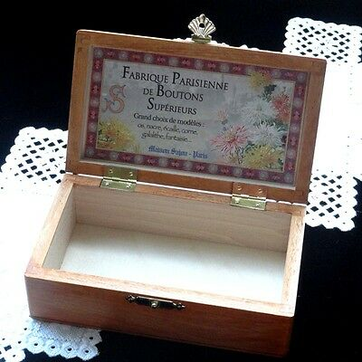 "French Wooden Storage Box - ""Boutons"""