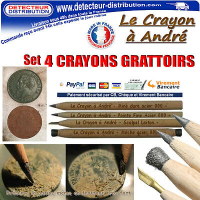Crayon à André (Made in France) Set de 4 crayons grattoirs nettoyage monnaies