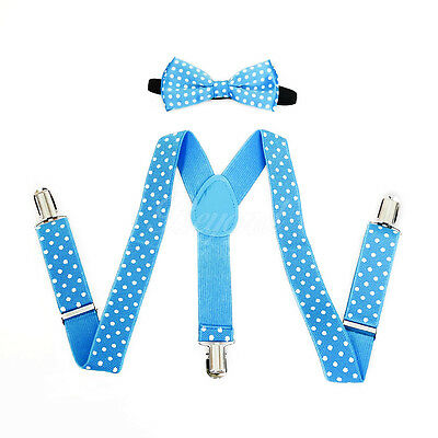 Blue Polka Dots Suspender and Bow Tie Set for Baby Toddler Kids Girls (USA)