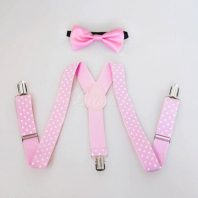 Pink Polka Dots Suspender and Bow Tie Set for Baby Toddler Kids Girls (USA)