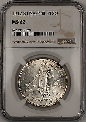 1912-S USA-Philippines Silver Peso NGC MS-62 (Better Coin) *Very Rare Condition*