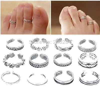 11 Pcs Vintage Antique Silver Adjustable Toe Rings for Women Fashion Flower -UK