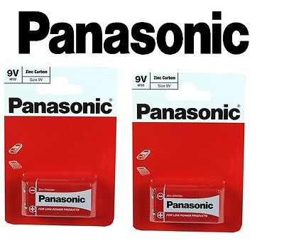 2 x Panasonic 9V Zinc Carbon Batteries - PP3 (MN1604 / 6F22 / 6LR61) - Pack of 2