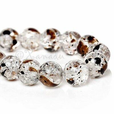 Coffee Brown Speckle Wholesale 10mm Round Glass Beads G2268 - 50, 100 Or 200PCs