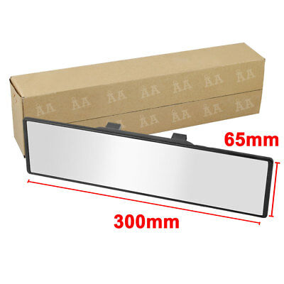 Black Rectangle JDM Flat Rear View Mirror 300mm x 65mm for Car Interior