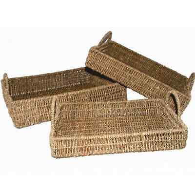 New Tray Woven Seagrass Rectangle Set of 3 Natural Colour Basket