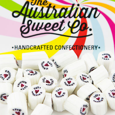 1kg Just Married Rock Candy bulk lollies Valentine Party Wedding Favours