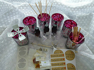 Metallic 6 Hot Pink Love Hearts soy wax kit. Plus all you need READ description