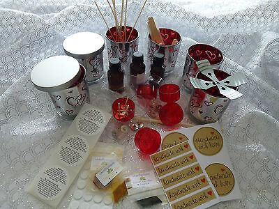 Metallic 6 Red Love Hearts jars soy wax kit. Plus all you need READ description