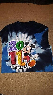 Walt Disney World Mickey Mouse Tie Dye t-Shirt 2011 100% Cotton Official Tagless