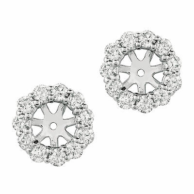 1.90 CT G-H SI2 Diamond Earring Jackets Set In 14K White Gold - E5240WD-7MM
