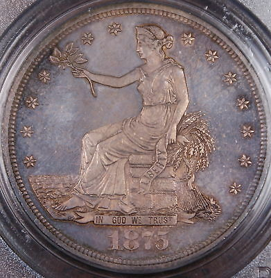 1875 Silver Trade Dollar PCGS MS-64 *Gem BU* Toned Coin
