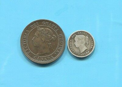 Canada - Two Beautiful Late 1880's Qv Coins, One Silver
